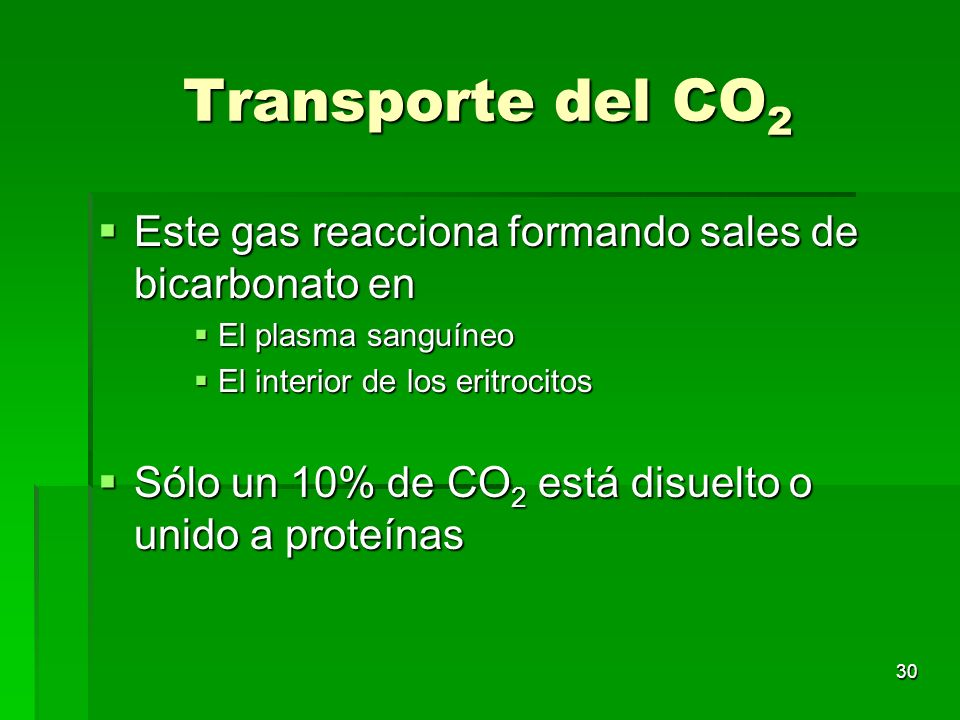 Transporte del CO2 Este gas reacciona formando sales de bicarbonato en