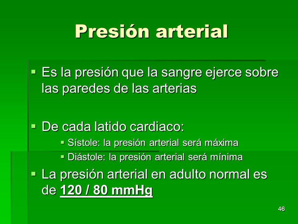 Presión arterial Es la presión que la sangre ejerce sobre las paredes de las arterias. De cada latido cardiaco: