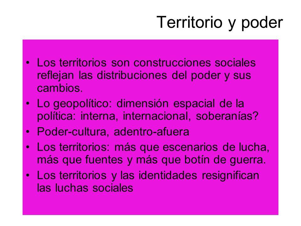 Territorio y poder Los territorios son construcciones sociales reflejan las distribuciones del poder y sus cambios.