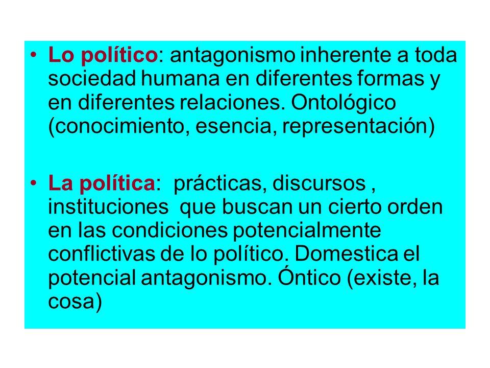 Lo político: antagonismo inherente a toda sociedad humana en diferentes formas y en diferentes relaciones. Ontológico (conocimiento, esencia, representación)