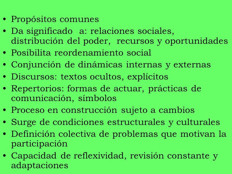Propósitos comunes Da significado a: relaciones sociales, distribución del poder, recursos y oportunidades.