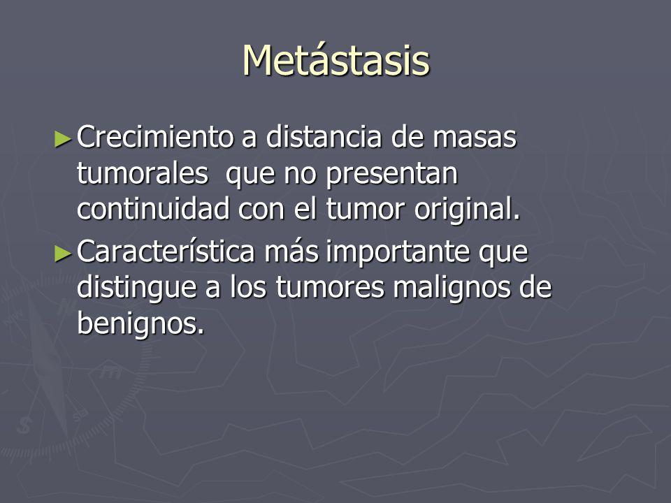 Metástasis Crecimiento a distancia de masas tumorales que no presentan continuidad con el tumor original.