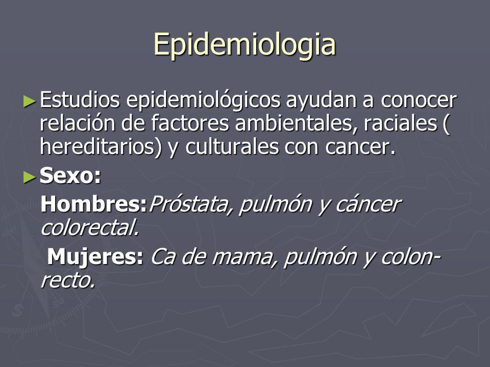 Epidemiologia Estudios epidemiológicos ayudan a conocer relación de factores ambientales, raciales ( hereditarios) y culturales con cancer.