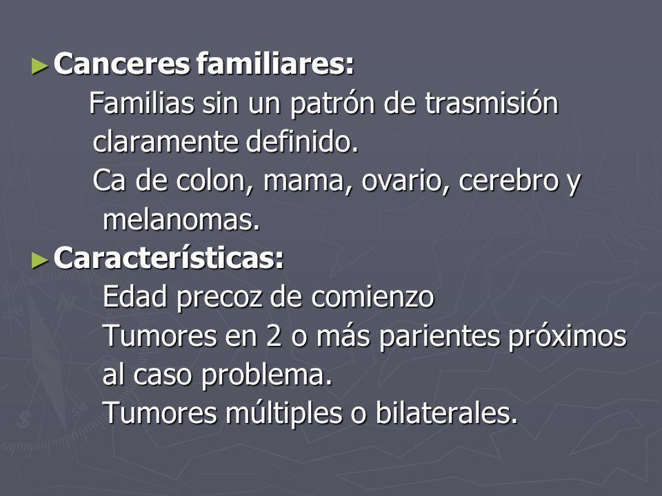 Canceres familiares: Familias sin un patrón de trasmisión. claramente definido. Ca de colon, mama, ovario, cerebro y.