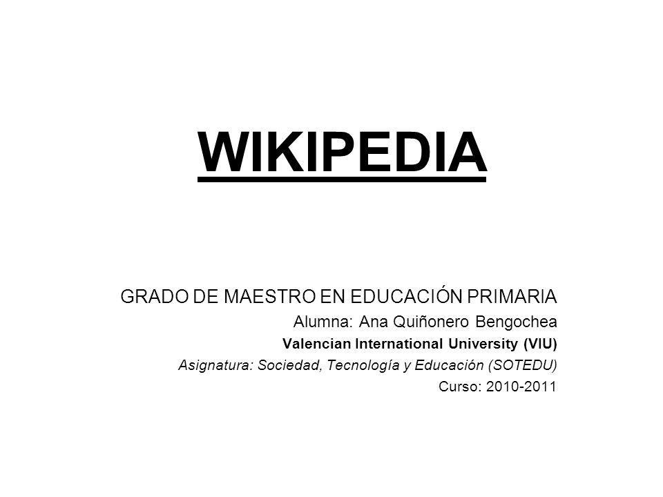 WIKIPEDIA GRADO DE MAESTRO EN EDUCACIÓN PRIMARIA