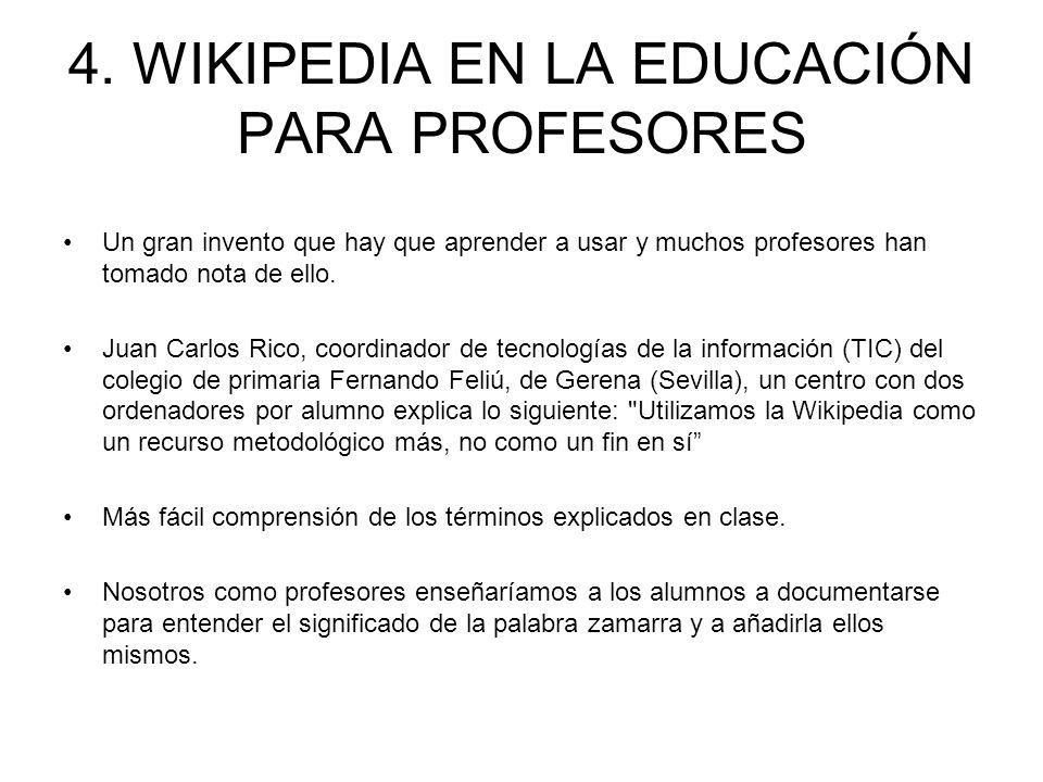 4. WIKIPEDIA EN LA EDUCACIÓN PARA PROFESORES