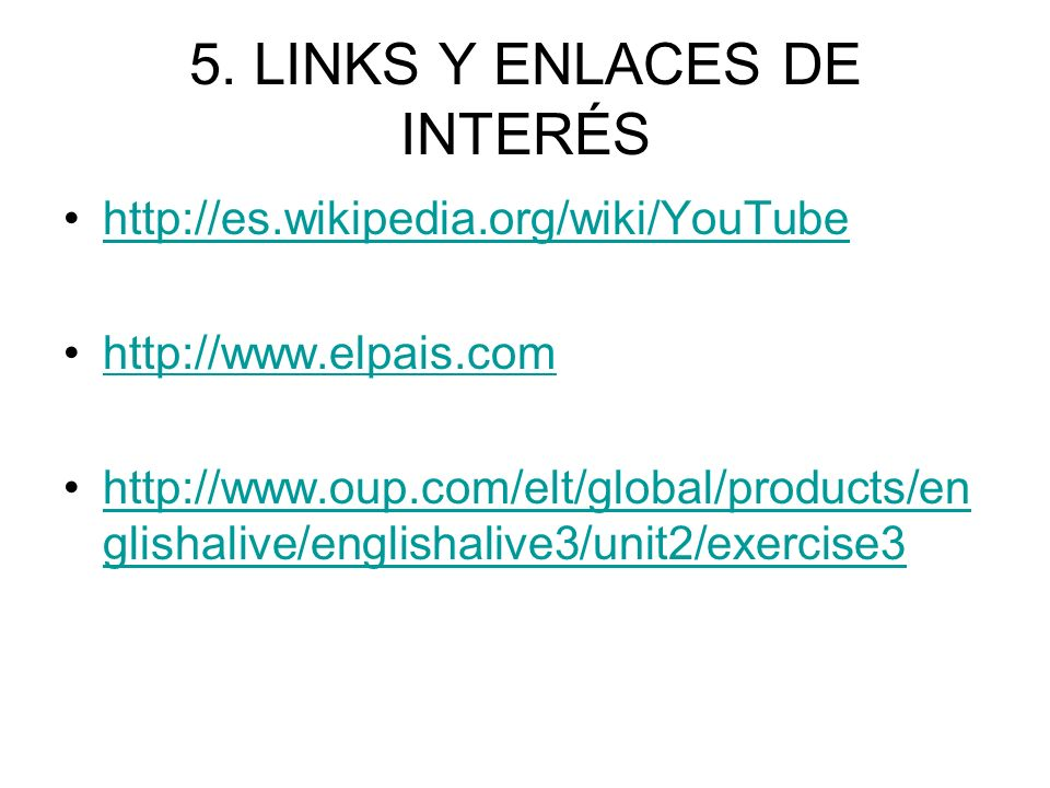 5. LINKS Y ENLACES DE INTERÉS