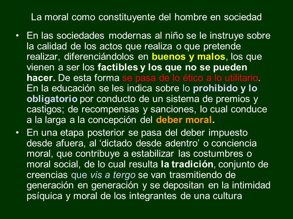 La moral como constituyente del hombre en sociedad