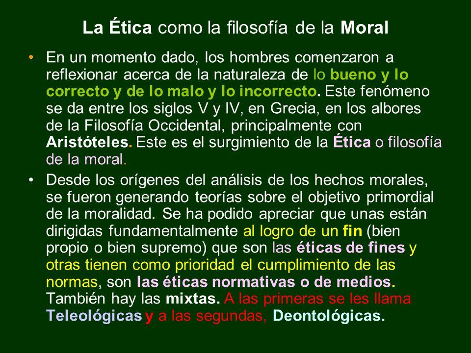 La Ética como la filosofía de la Moral
