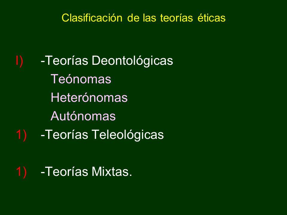 Clasificación de las teorías éticas