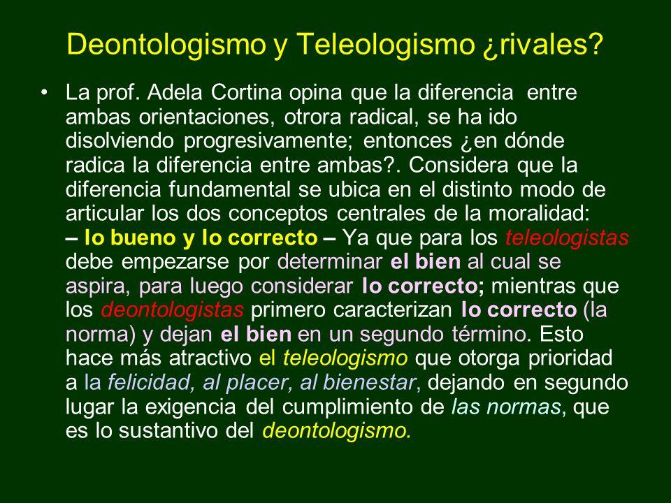 Deontologismo y Teleologismo ¿rivales