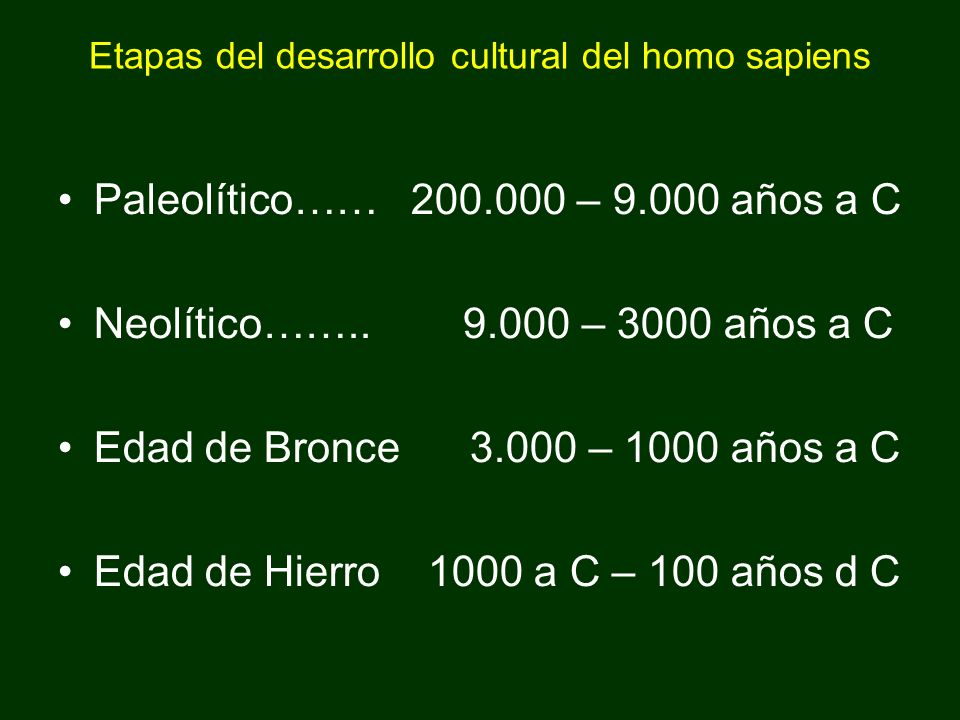 Etapas del desarrollo cultural del homo sapiens