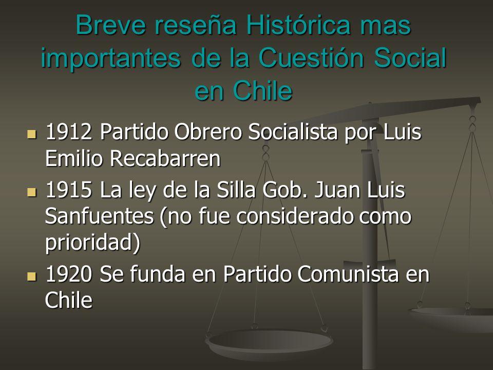 Breve reseña Histórica mas importantes de la Cuestión Social en Chile