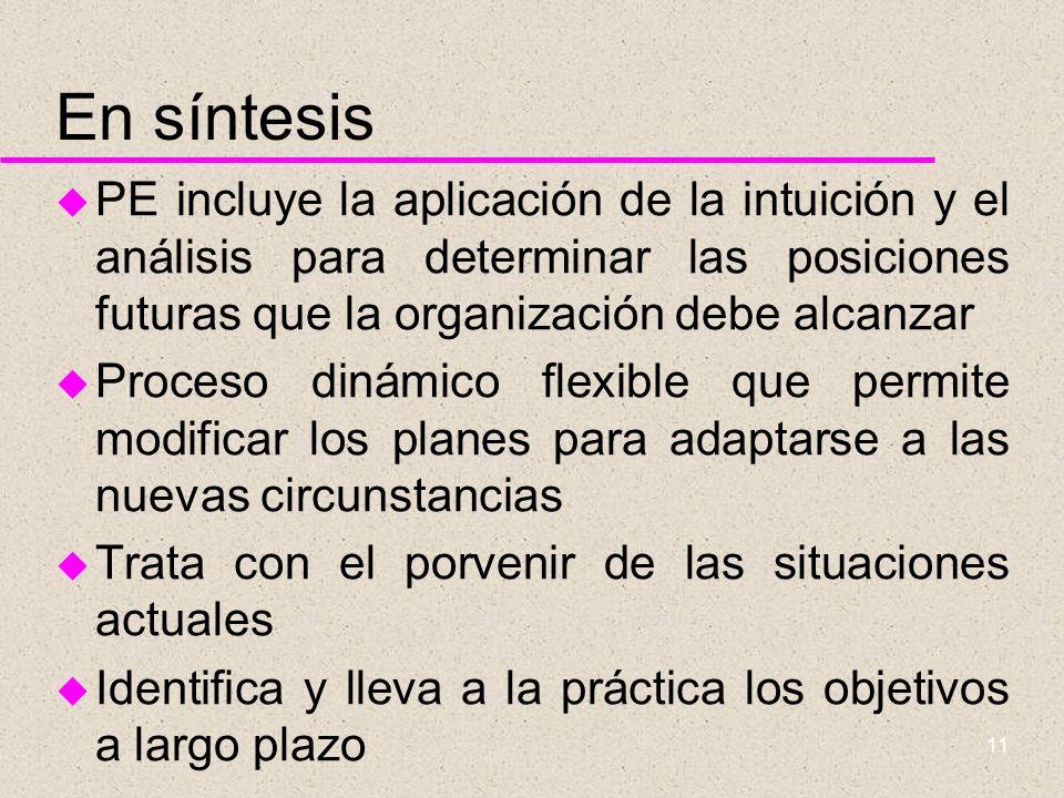 En síntesis PE incluye la aplicación de la intuición y el análisis para determinar las posiciones futuras que la organización debe alcanzar.