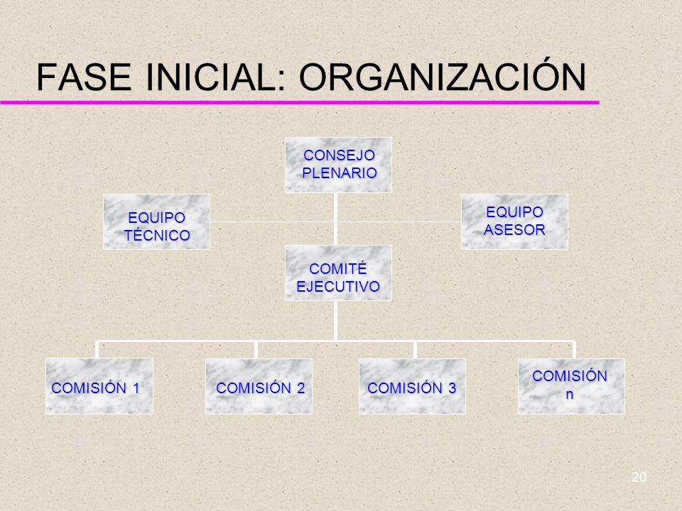 FASE INICIAL: ORGANIZACIÓN
