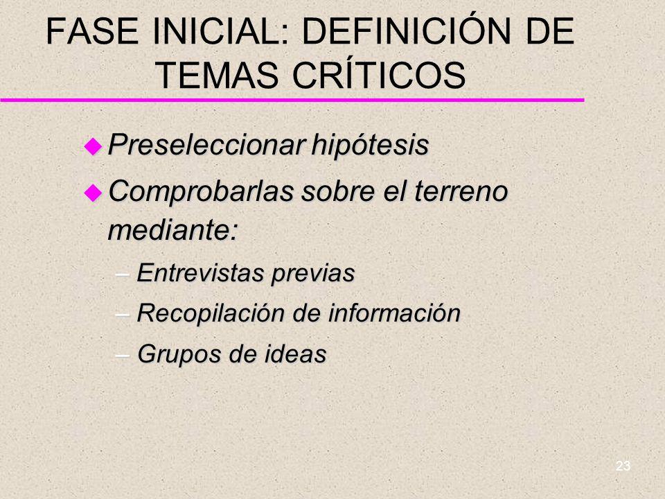 FASE INICIAL: DEFINICIÓN DE TEMAS CRÍTICOS