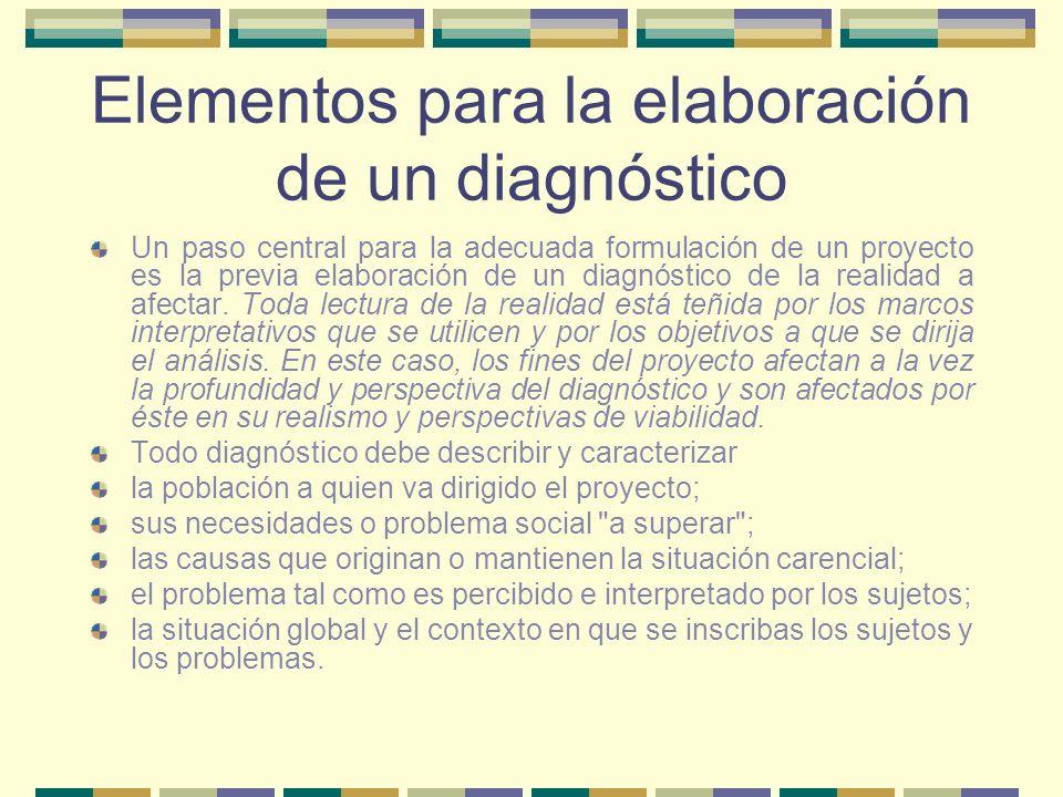 Elementos para la elaboración de un diagnóstico