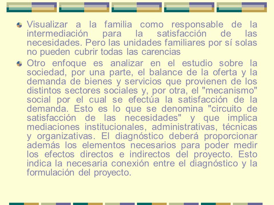 Visualizar a la familia como responsable de la intermediación para la satisfacción de las necesidades. Pero las unidades familiares por sí solas no pueden cubrir todas las carencias