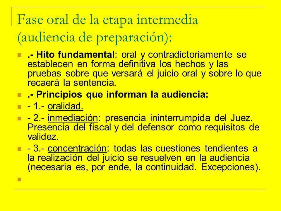 Fase oral de la etapa intermedia (audiencia de preparación):
