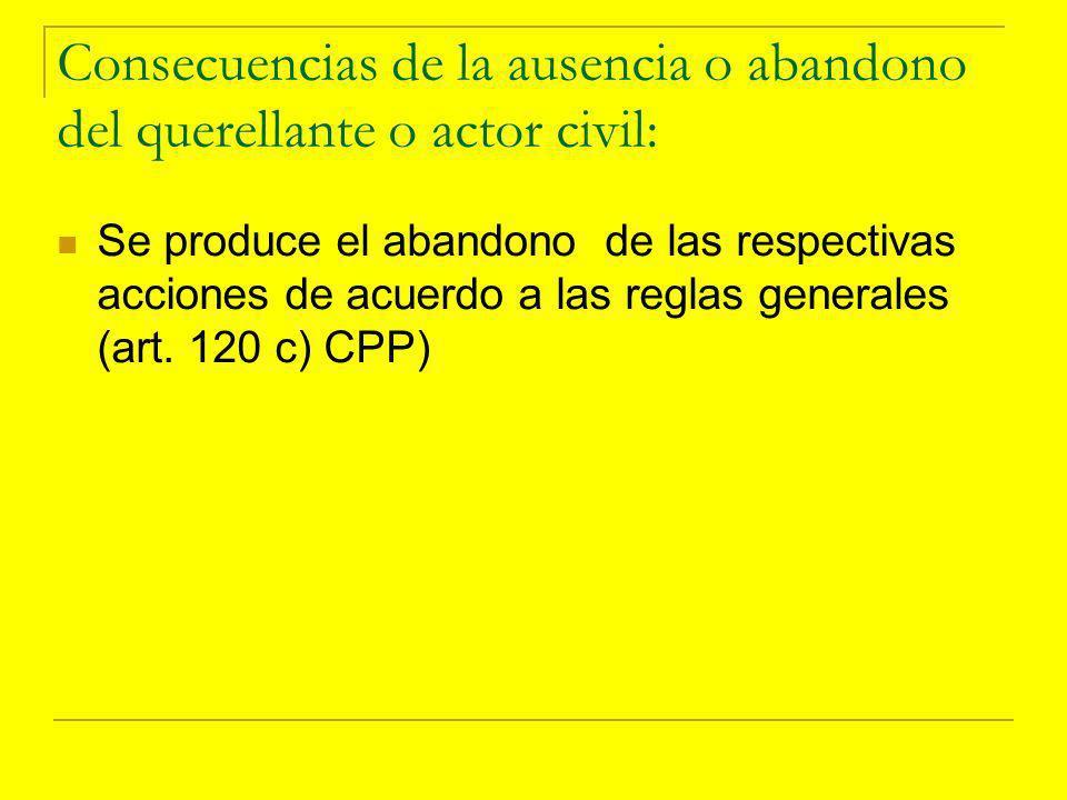 Consecuencias de la ausencia o abandono del querellante o actor civil: