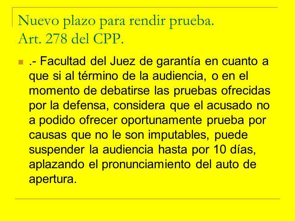 Nuevo plazo para rendir prueba. Art. 278 del CPP.