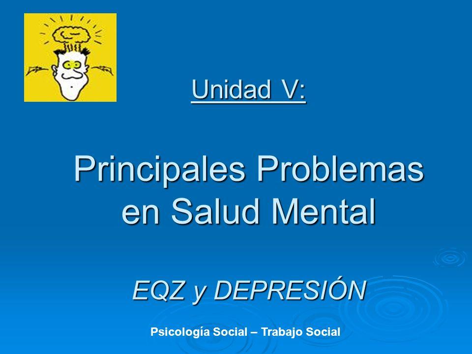 Unidad V: Principales Problemas en Salud Mental EQZ y DEPRESIÓN