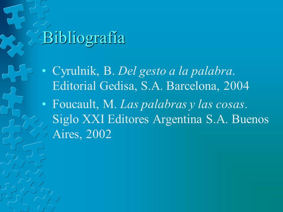 Bibliografía Cyrulnik, B. Del gesto a la palabra. Editorial Gedisa, S.A. Barcelona, 2004.