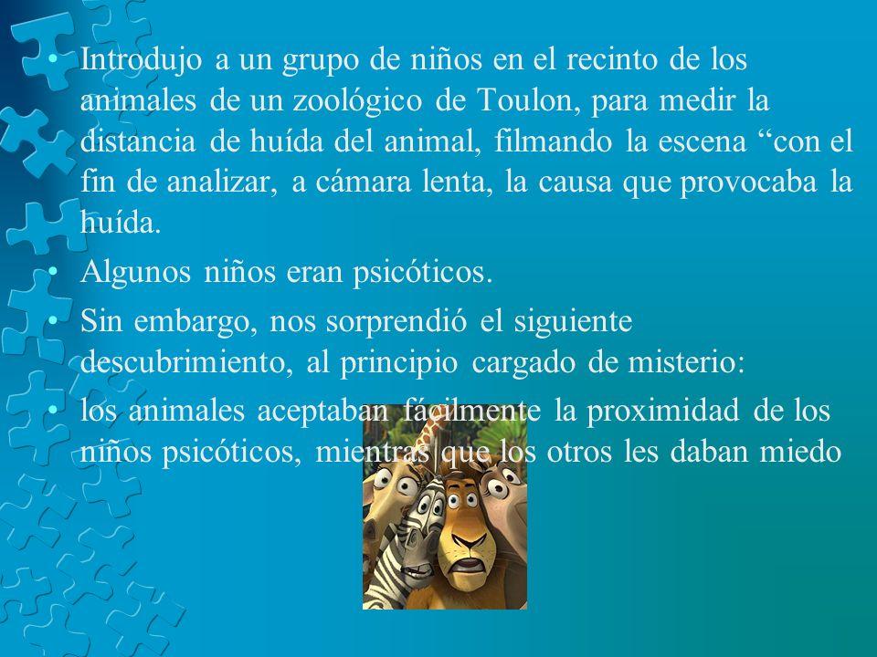 Introdujo a un grupo de niños en el recinto de los animales de un zoológico de Toulon, para medir la distancia de huída del animal, filmando la escena con el fin de analizar, a cámara lenta, la causa que provocaba la huída.