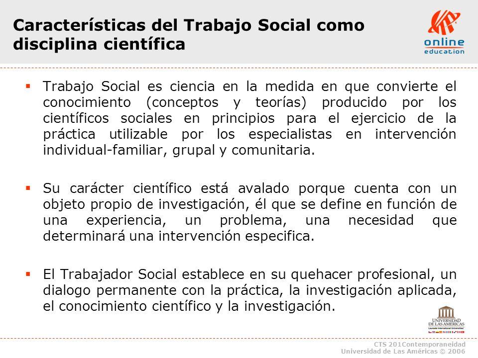 Características del Trabajo Social como disciplina científica