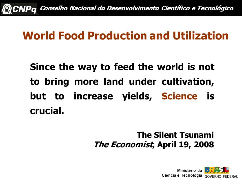 World Food Production and Utilization