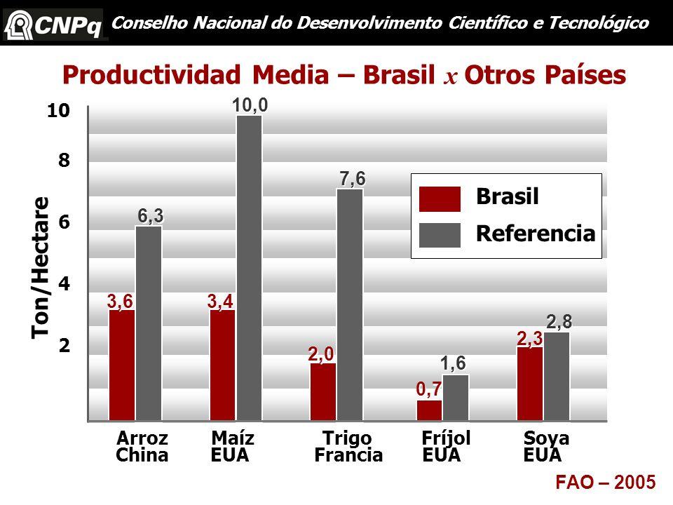 Productividad Media – Brasil x Otros Países