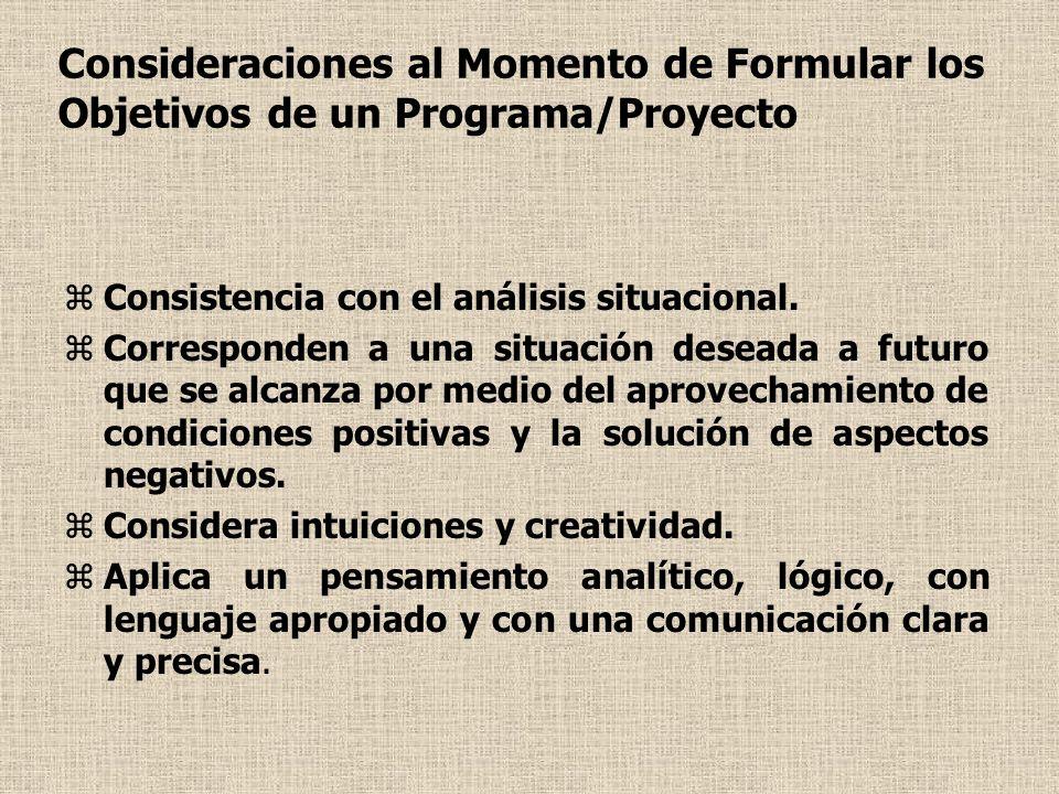 Consideraciones al Momento de Formular los Objetivos de un Programa/Proyecto