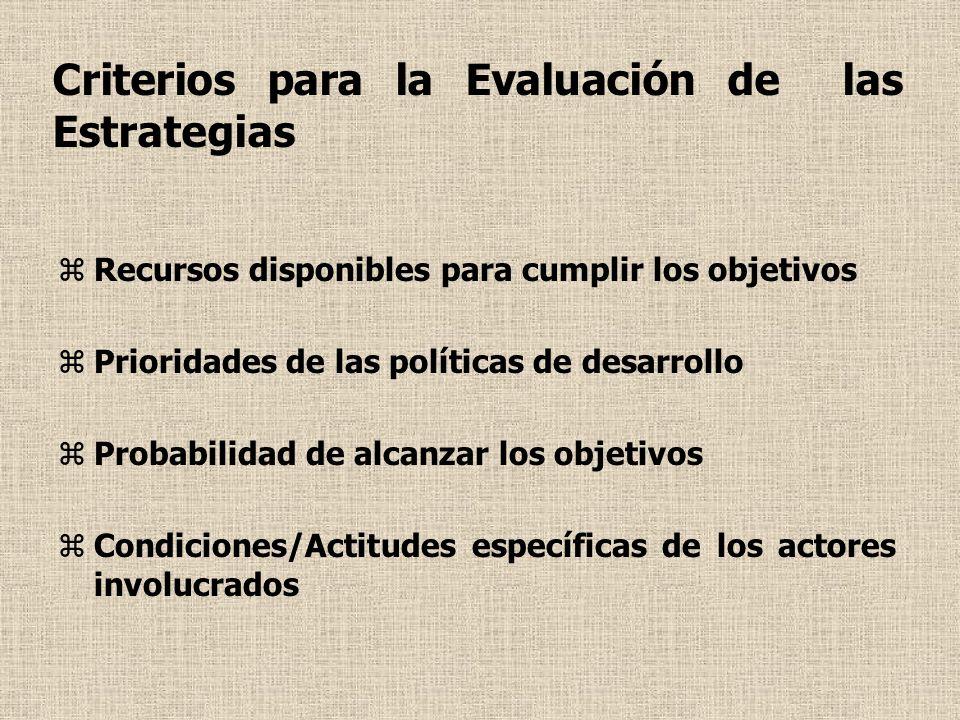 Criterios para la Evaluación de las Estrategias