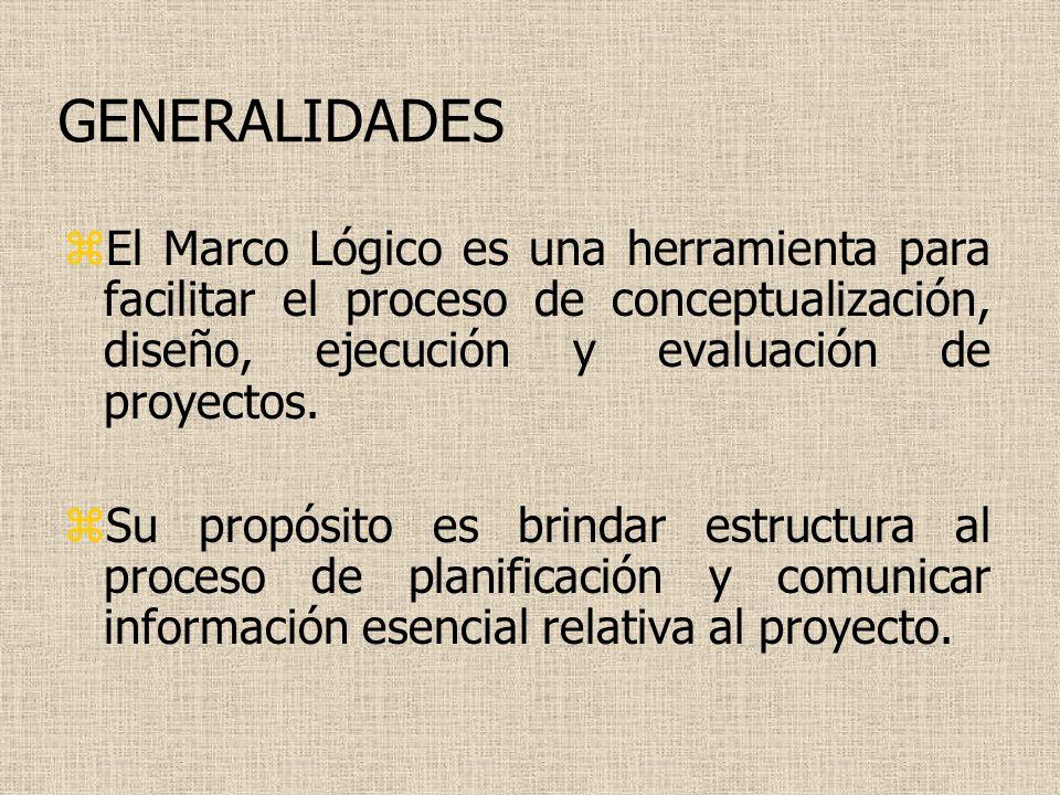 GENERALIDADES El Marco Lógico es una herramienta para facilitar el proceso de conceptualización, diseño, ejecución y evaluación de proyectos.