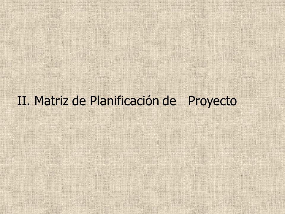 II. Matriz de Planificación de Proyecto