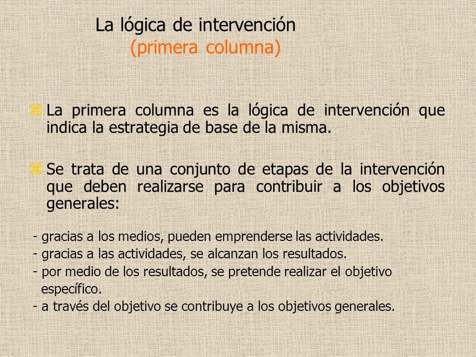 La lógica de intervención (primera columna)