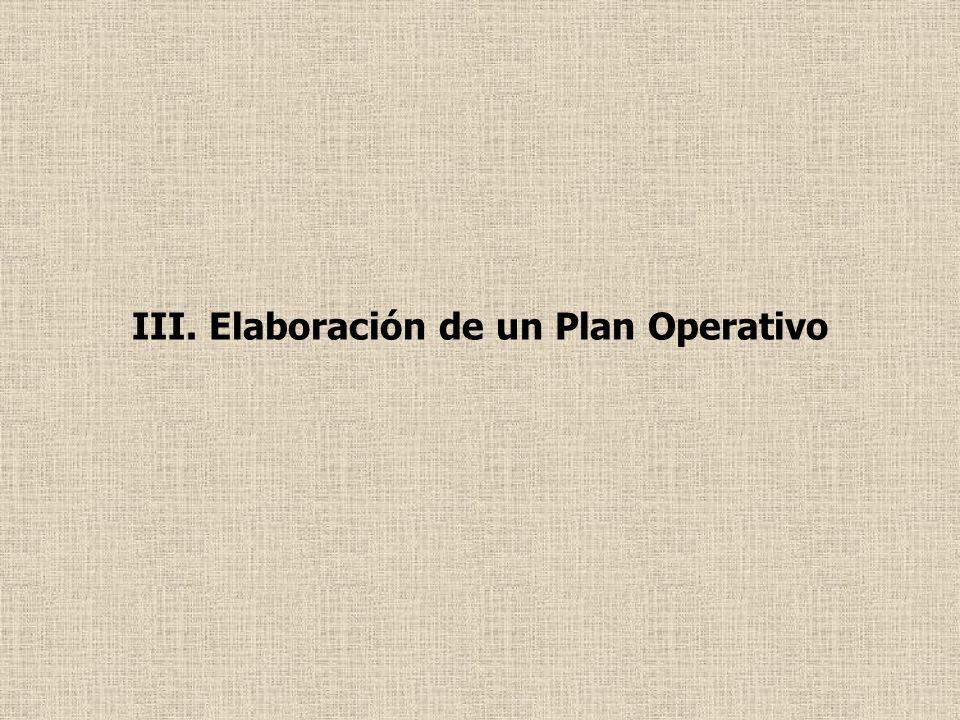 III. Elaboración de un Plan Operativo