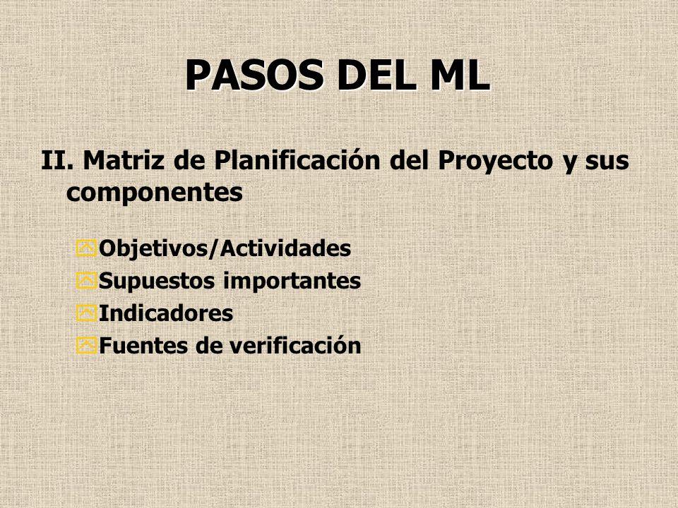 PASOS DEL ML II. Matriz de Planificación del Proyecto y sus componentes. Objetivos/Actividades. Supuestos importantes.