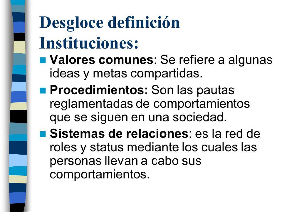 Desgloce definición Instituciones: