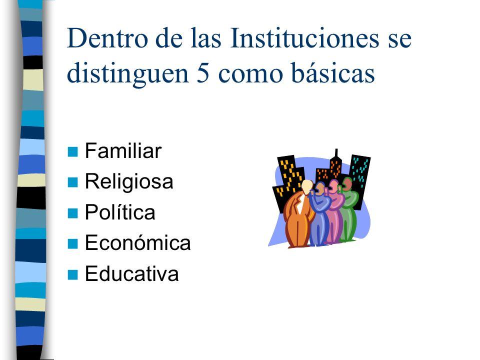 Dentro de las Instituciones se distinguen 5 como básicas