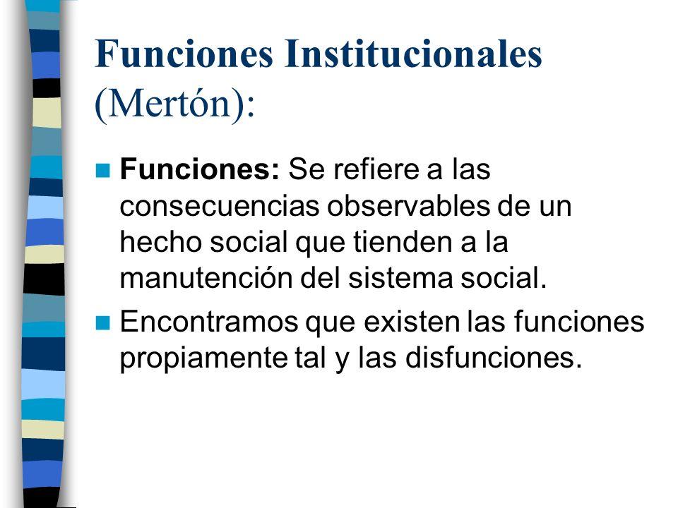 Funciones Institucionales (Mertón):