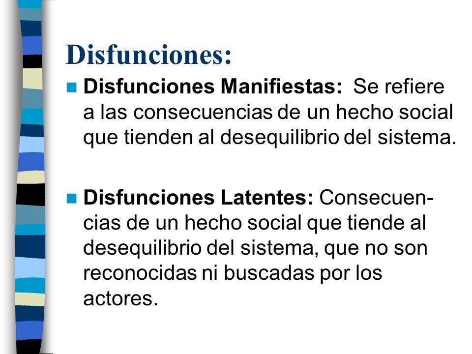 Disfunciones: Disfunciones Manifiestas: Se refiere a las consecuencias de un hecho social que tienden al desequilibrio del sistema.