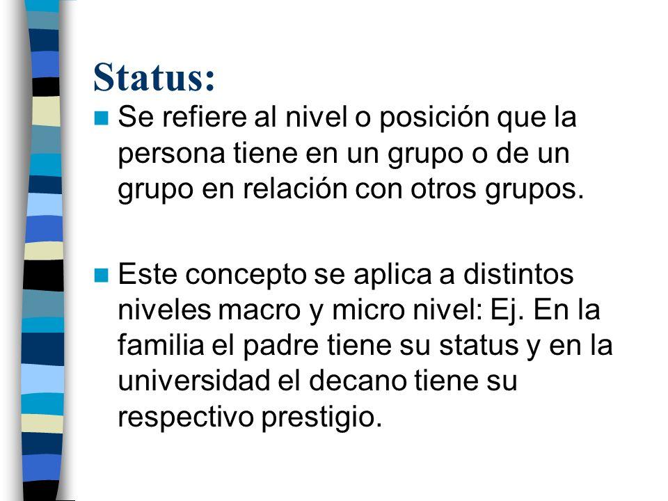 Status: Se refiere al nivel o posición que la persona tiene en un grupo o de un grupo en relación con otros grupos.
