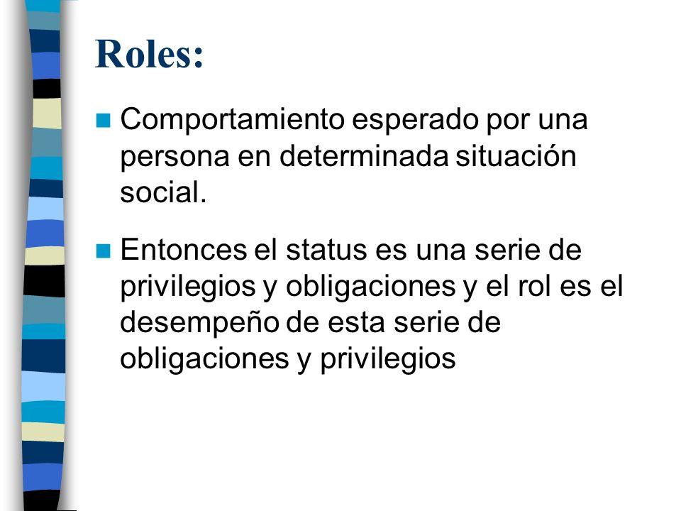Roles: Comportamiento esperado por una persona en determinada situación social.