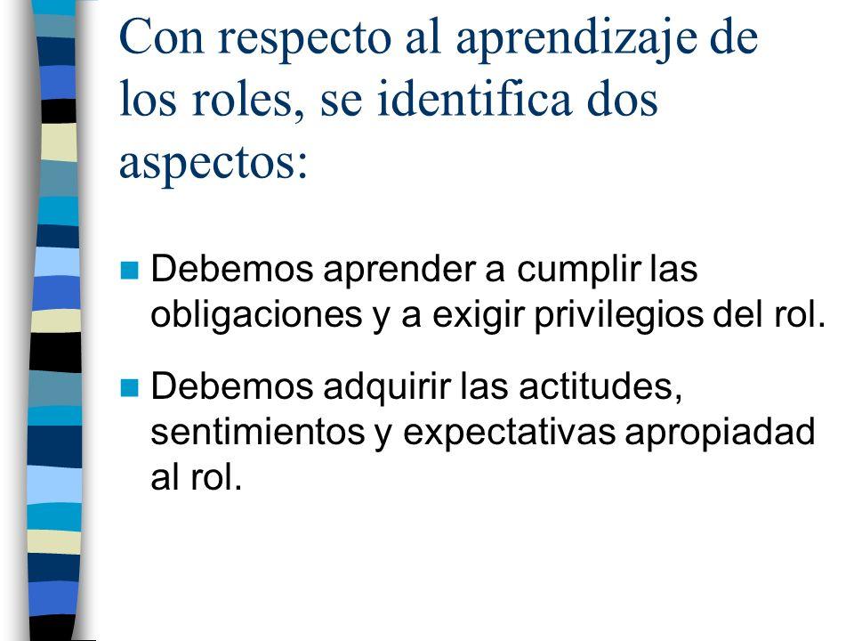 Con respecto al aprendizaje de los roles, se identifica dos aspectos: