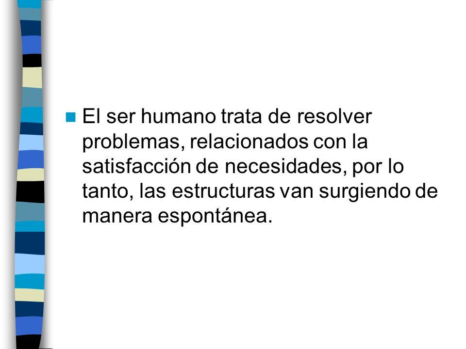 El ser humano trata de resolver problemas, relacionados con la satisfacción de necesidades, por lo tanto, las estructuras van surgiendo de manera espontánea.