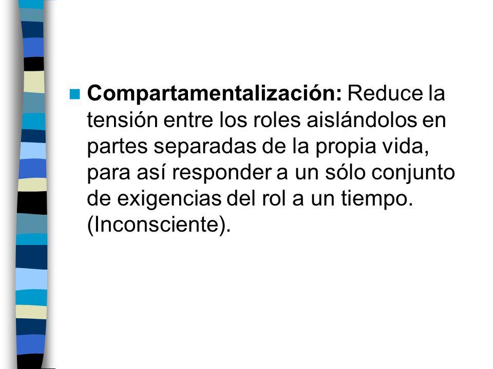 Compartamentalización: Reduce la tensión entre los roles aislándolos en partes separadas de la propia vida, para así responder a un sólo conjunto de exigencias del rol a un tiempo.
