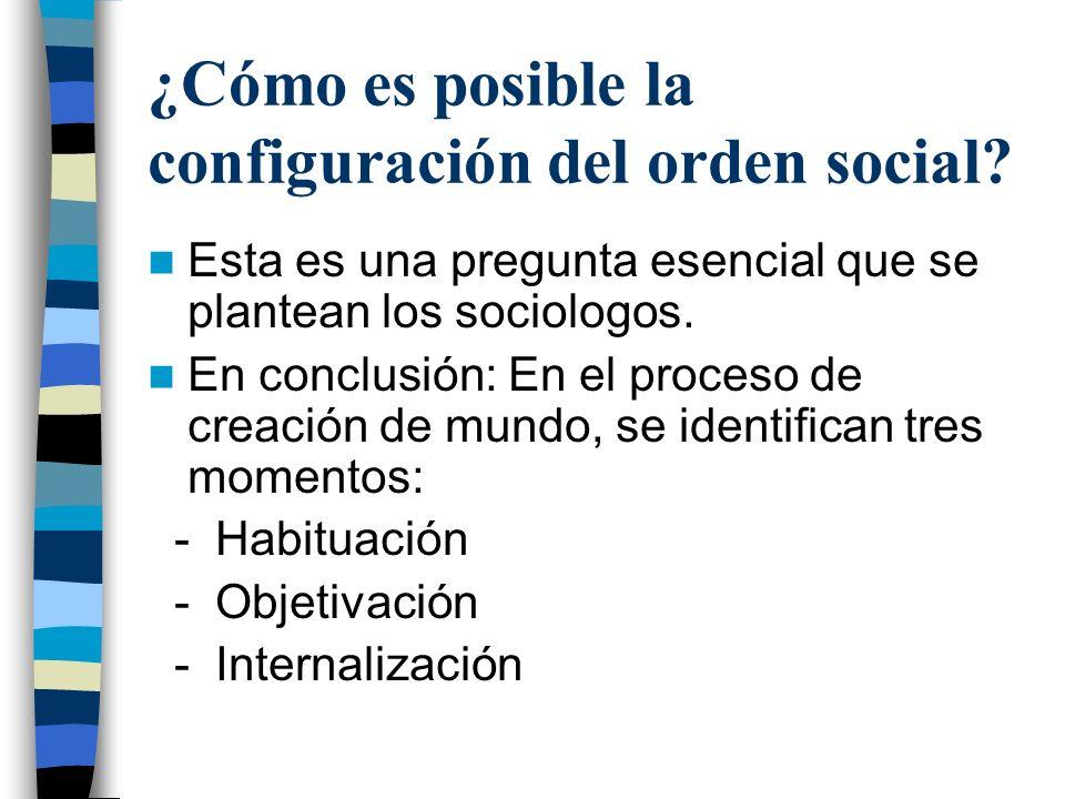 ¿Cómo es posible la configuración del orden social