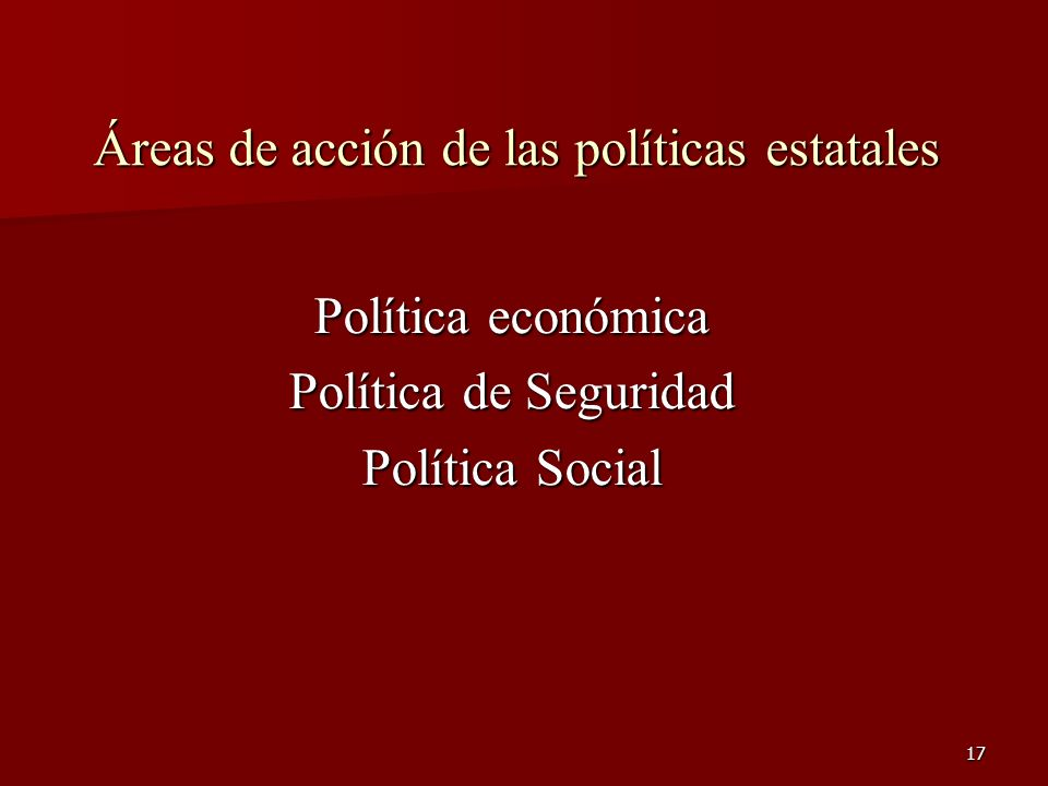 Áreas de acción de las políticas estatales