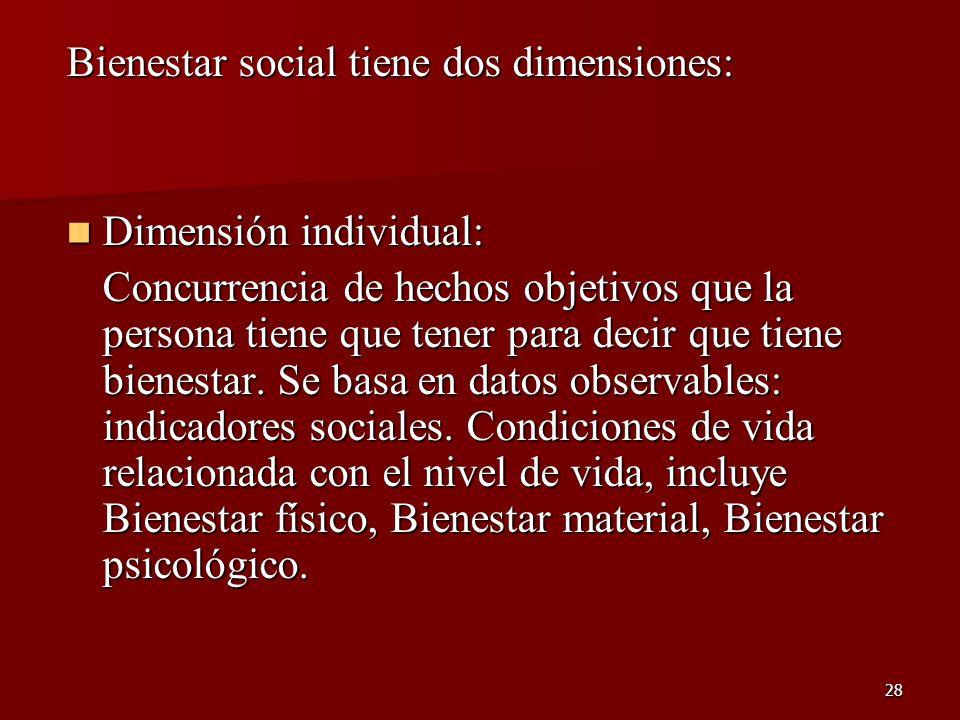 Bienestar social tiene dos dimensiones: